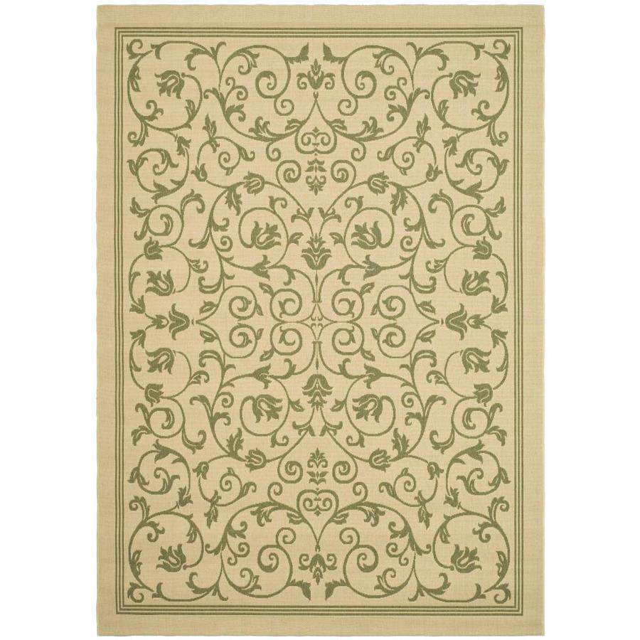 Safavieh Courtyard Natural and Olive Rectangular Indoor and Outdoor Machine-Made Area Rug (Common: 4 x 6; Actual: 48-in W x 67-in L x 0.33-ft Dia)