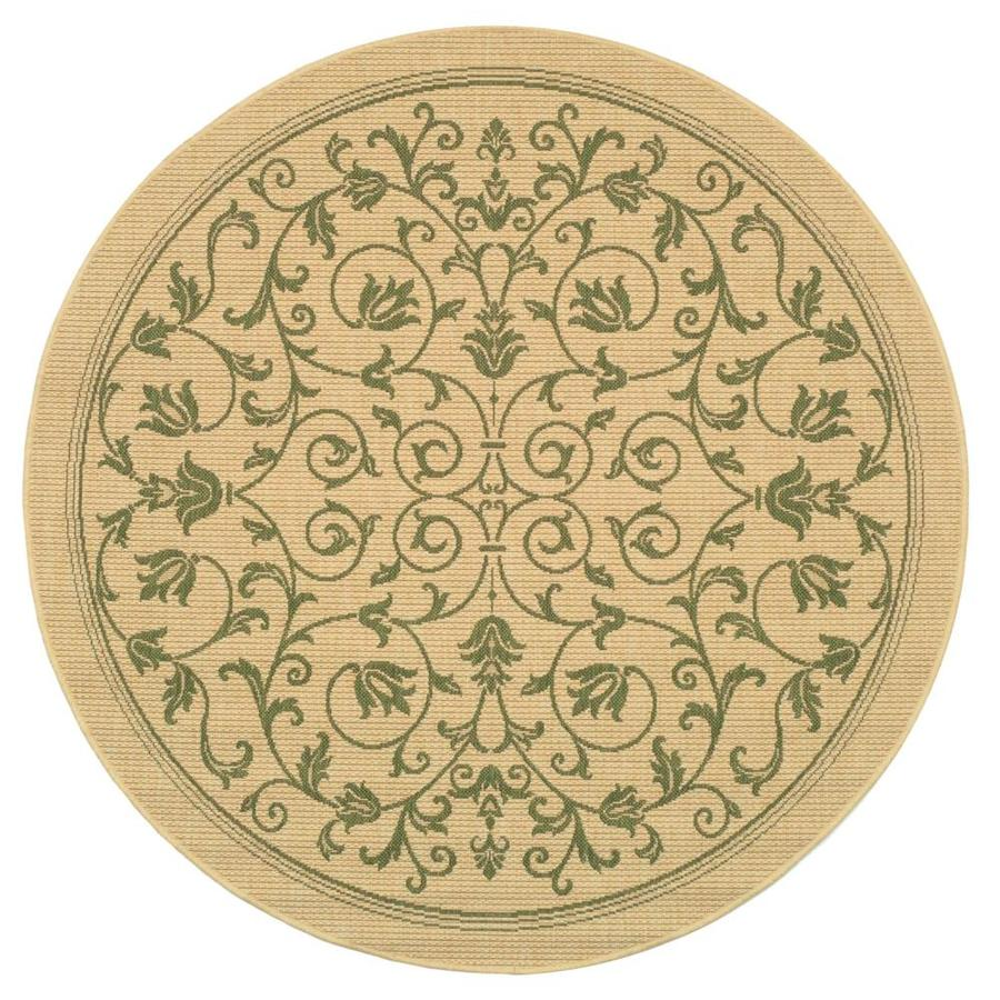 Safavieh Courtyard Natural/Olive Round Indoor/Outdoor Machine-Made Coastal Area Rug (Common: 5 x 5; Actual: 5.25-ft W x 5.25-ft L x 5.25-ft Dia)