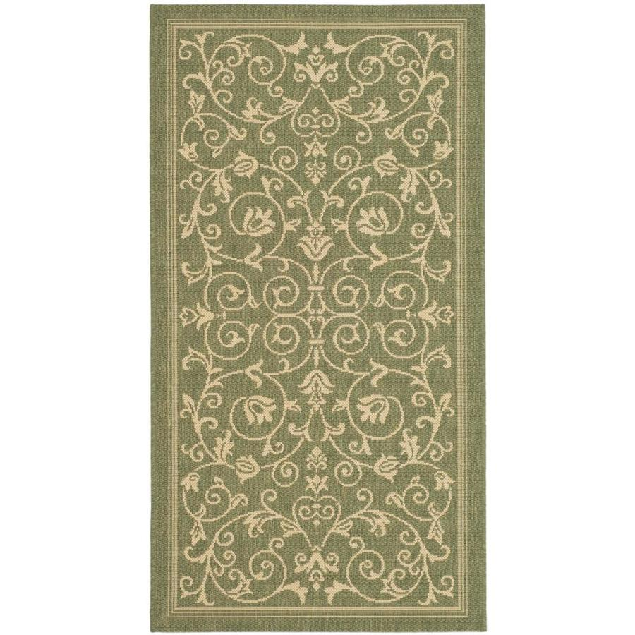 Safavieh Courtyard Heirloom Gate Olive/Natural Rectangular Indoor/Outdoor Machine-Made Coastal Throw Rug (Common: 2 x 5; Actual: 2.58-ft W x 5-ft L)