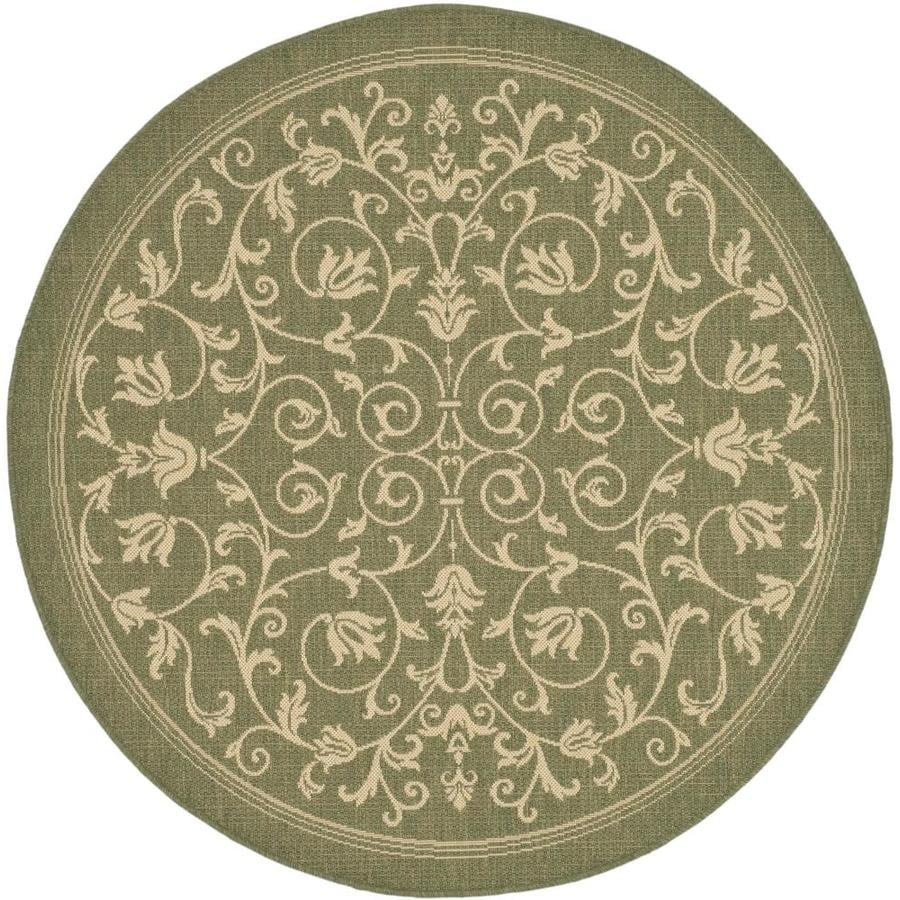 Safavieh Courtyard Heirloom Gate Olive/Natural Round Indoor/Outdoor Machine-Made Coastal Area Rug (Common: 5 x 5; Actual: 5.25-ft W x 5.25-ft L x 5.25-ft Dia)