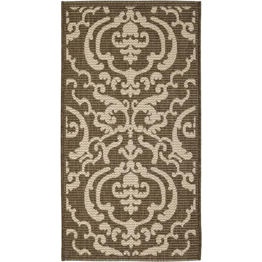 Safavieh Courtyard Damask Medallion Chocolate/Natural Rectangular Indoor/Outdoor Machine-Made Coastal Throw Rug (Common: 2 x 5; Actual: 2.58-ft W x 5-ft L)
