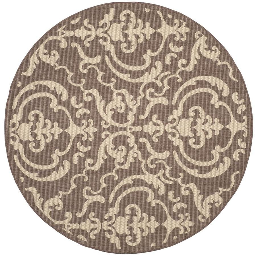 Safavieh Courtyard Damask Medallion Chocolate/Natural Round Indoor/Outdoor Machine-Made Coastal Area Rug (Common: 6 x 6; Actual: 6.58-ft W x 6.58-ft L x 6.58-ft Dia)