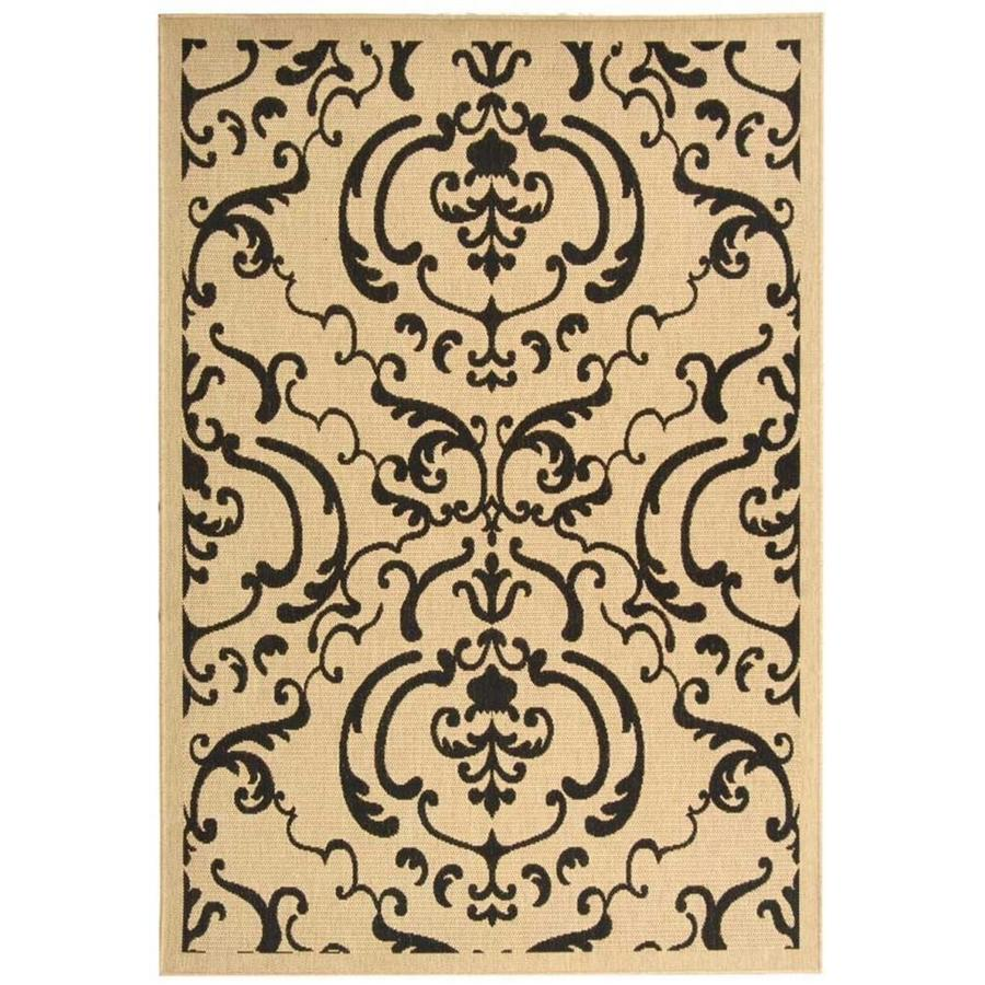 Safavieh Courtyard Damask Medallion Sand/Black Rectangular Indoor/Outdoor Machine-Made Coastal Area Rug (Common: 5 x 7; Actual: 5.25-ft W x 7.58-ft L)
