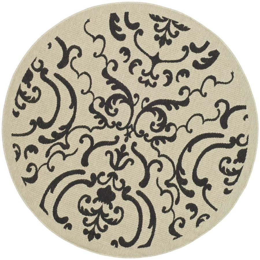 Safavieh Courtyard Damask Medallion Sand/Black Round Indoor/Outdoor Machine-made Coastal Area Rug (Common: 5 x 5; Actual: 5-ft W x 5-ft L x 5-ft Dia)