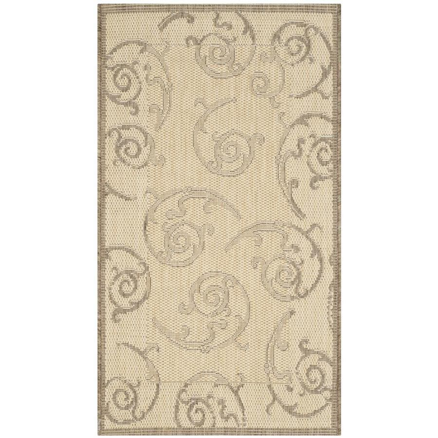 Safavieh Courtyard Natural/Brown Rectangular Indoor/Outdoor Machine-Made Coastal Throw Rug (Common: 3 x 5; Actual: 2.58-ft W x 5-ft L)