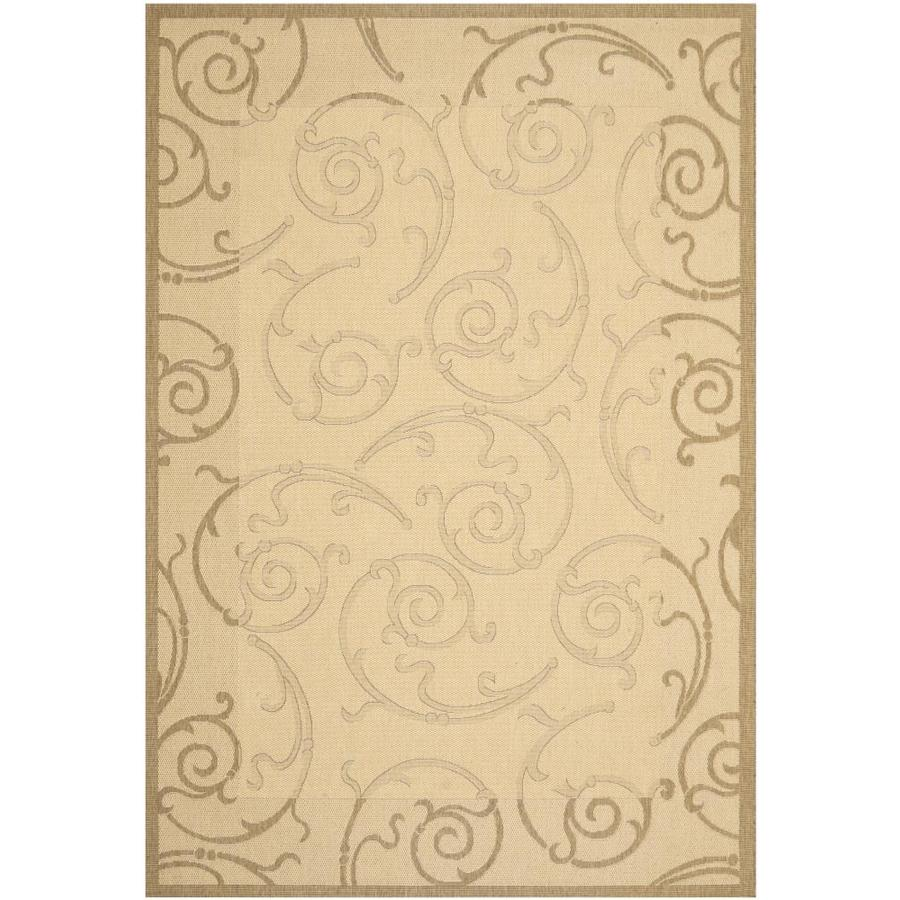 Safavieh Courtyard Sc-Roll Natural/Brown Rectangular Indoor/Outdoor Machine-Made Coastal Area Rug (Common: 4 x 5; Actual: 4-ft W x 5.58-ft L)
