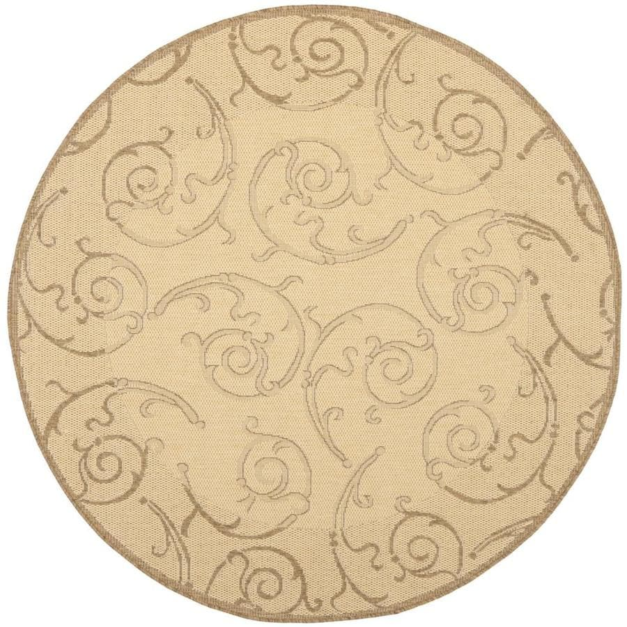 Safavieh Courtyard Sc-Roll Natural/Brown Round Indoor/Outdoor Machine-made Coastal Area Rug (Common: 5 x 5; Actual: 5.25-ft W x 5.25-ft L x 5.25-ft Dia)