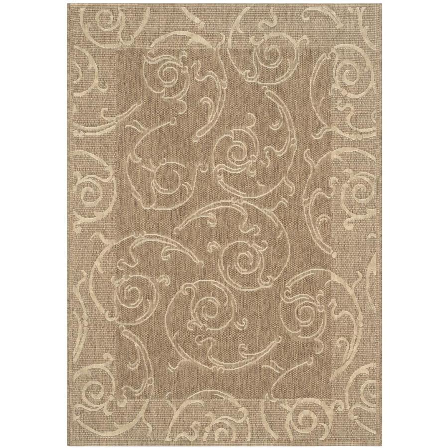 Safavieh Courtyard Sc-Roll Brown/Natural Rectangular Indoor/Outdoor Machine-Made Coastal Area Rug (Common: 4 x 5; Actual: 4-ft W x 5.58-ft L)
