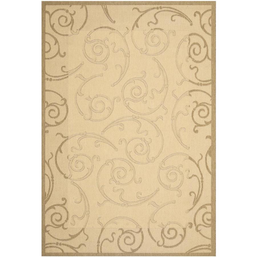 Safavieh Courtyard Sc-Roll Natural/Brown Rectangular Indoor/Outdoor Machine-Made Coastal Area Rug (Common: 6 x 9; Actual: 6.58-ft W x 9.5-ft L)