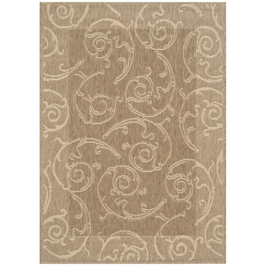 Safavieh Courtyard Sc-Roll Brown/Natural Rectangular Indoor/Outdoor Machine-Made Coastal Area Rug (Common: 6 x 9; Actual: 6.58-ft W x 9.5-ft L)