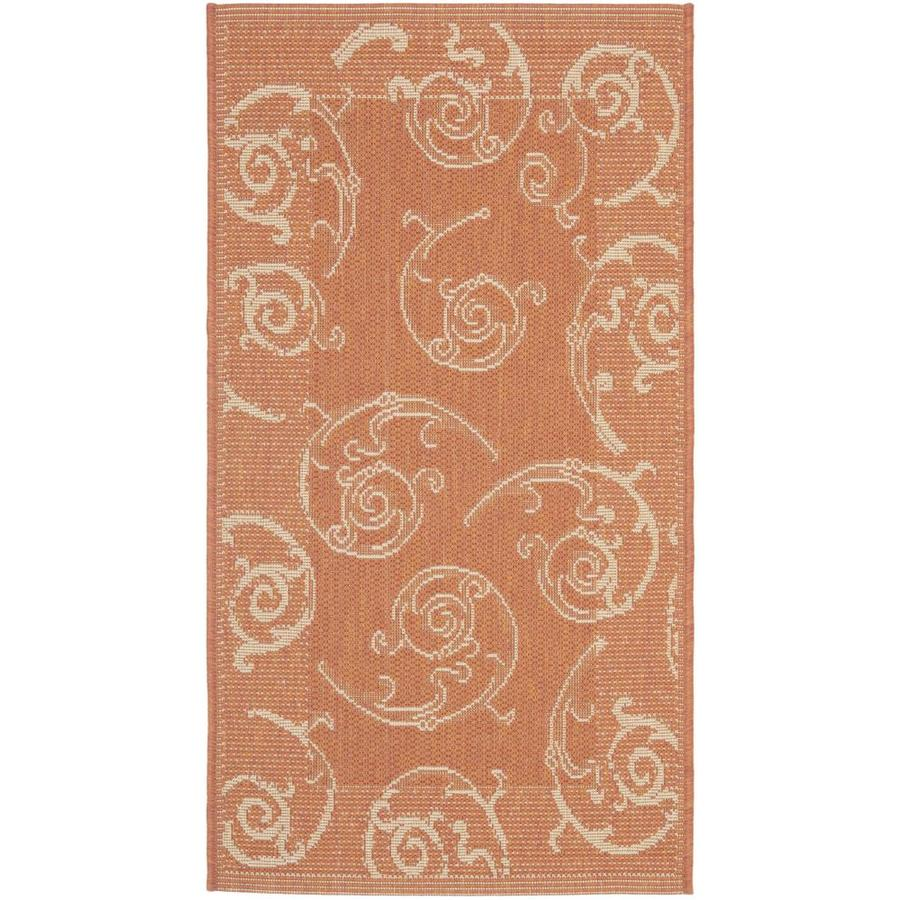 Safavieh Courtyard Sc-Roll Terracotta/Natural Rectangular Indoor/Outdoor Machine-Made Coastal Throw Rug (Common: 2 x 5; Actual: 2.58-ft W x 5-ft L)
