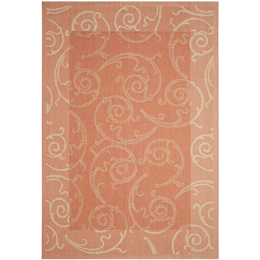 Safavieh Courtyard Terracotta/Natural Rectangular Indoor/Outdoor Machine-Made Coastal Area Rug (Common: 5 x 7; Actual: 5.25-ft W x 7.583-ft L)