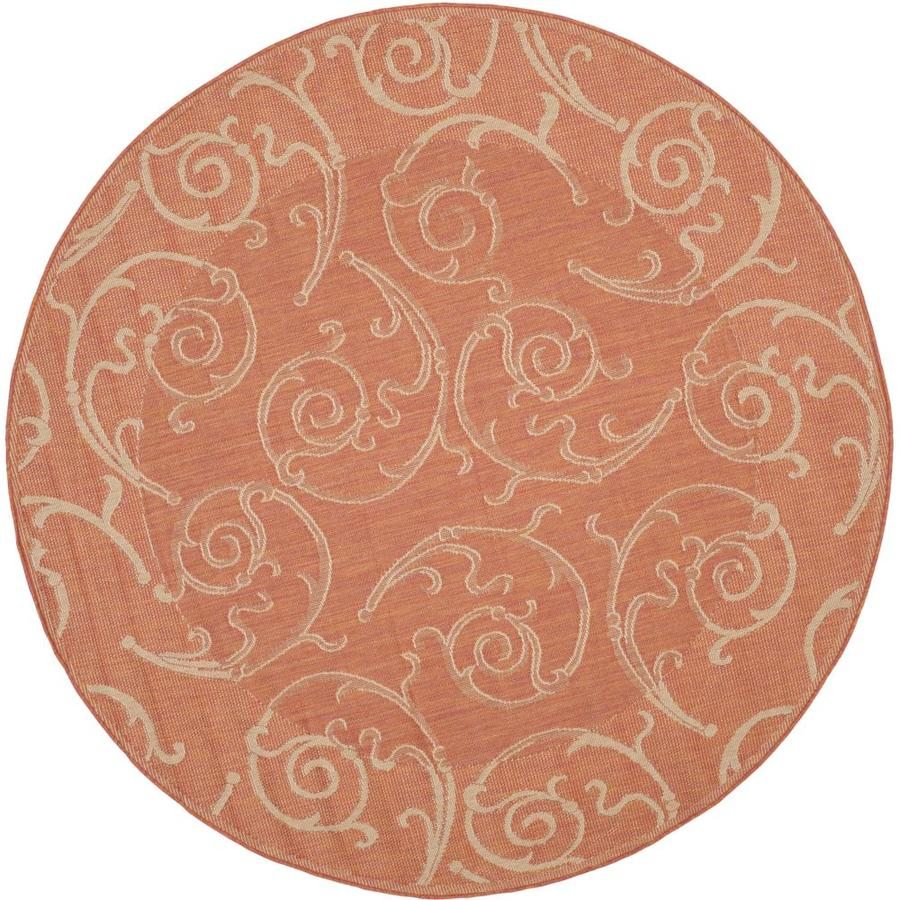Safavieh Courtyard Terracotta/Natural Round Indoor/Outdoor Machine-Made Coastal Area Rug (Common: 5 x 5; Actual: 5.25-ft W x 5.25-ft L x 5.25-ft Dia)