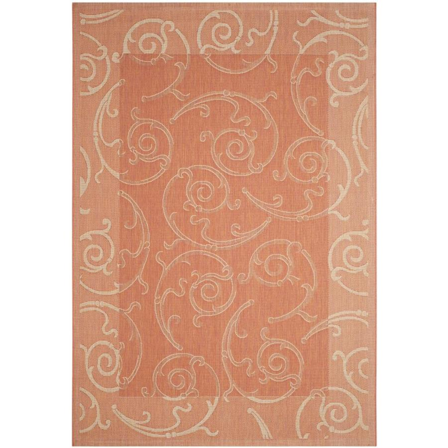 Safavieh Courtyard Terracotta/Natural Rectangular Indoor/Outdoor Machine-Made Coastal Area Rug (Common: 6 x 9; Actual: 6.58-ft W x 9.5-ft L)