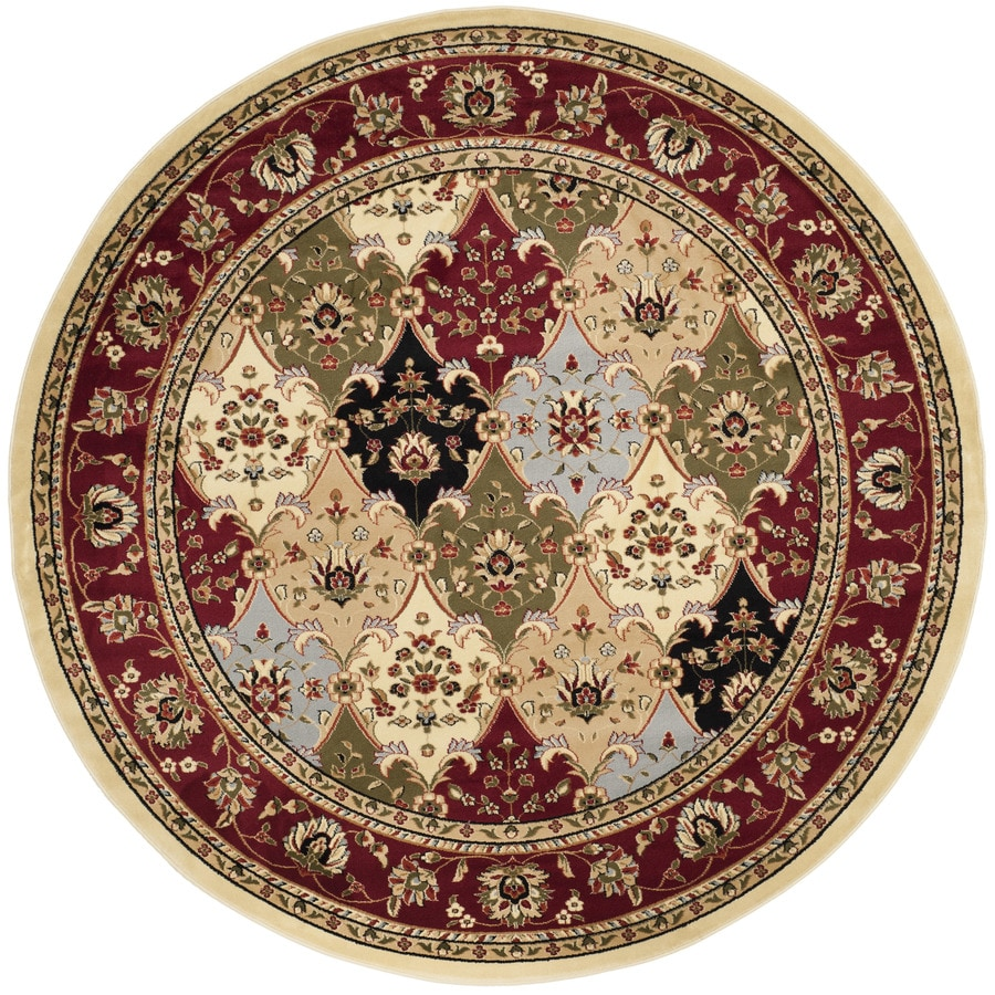 Safavieh Lyndhurst Fusion Multi/Red Round Indoor Machine-made Oriental Area Rug (Common: 8 x 8; Actual: 8-ft W x 8-ft L x 8-ft dia)
