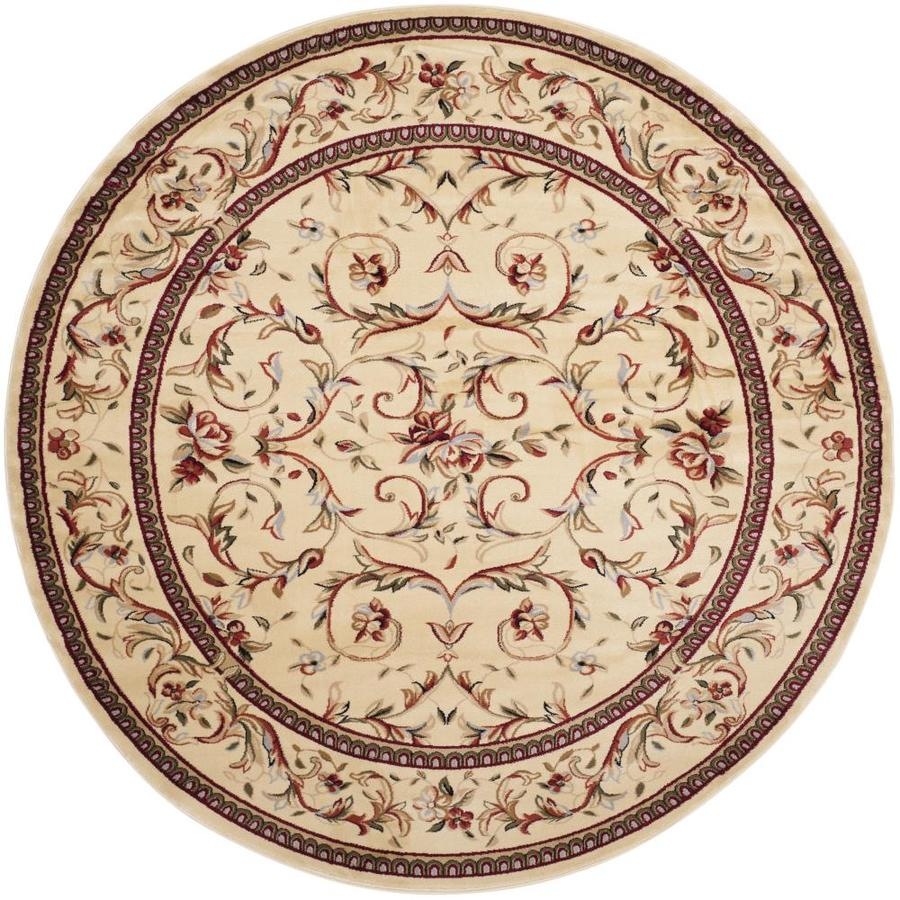 Safavieh Lyndhurst Lyon Ivory/Ivory Round Indoor Machine-made Oriental Area Rug (Common: 8 x 8; Actual: 8-ft W x 8-ft L x 8-ft dia)