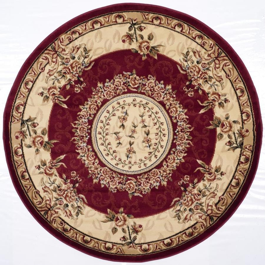Safavieh Lyndhurst Grandour Red/Ivory Round Indoor Machine-made Oriental Area Rug (Common: 5 x 5; Actual: 5.25-ft W x 5.25-ft L x 5.25-ft Dia)