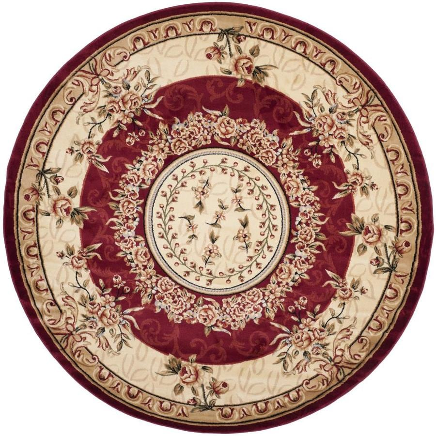 Safavieh Lyndhurst Red/Ivory Round Indoor Machine-Made Oriental Area Rug (Common: 8 x 8; Actual: 8-ft W x 8-ft L x 8-ft Dia)