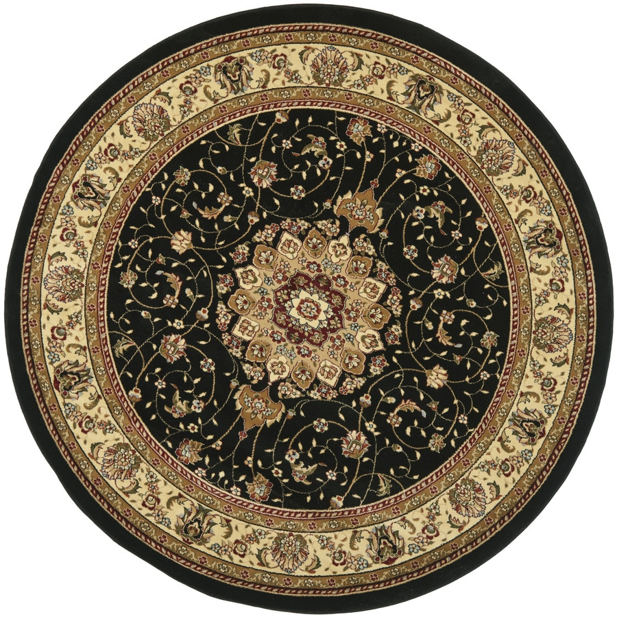 Safavieh Lyndhurst Kerman Black/Ivory Round Indoor Machine-made Oriental Area Rug (Common: 8 x 8; Actual: 8-ft W x 8-ft L x 8-ft Dia)