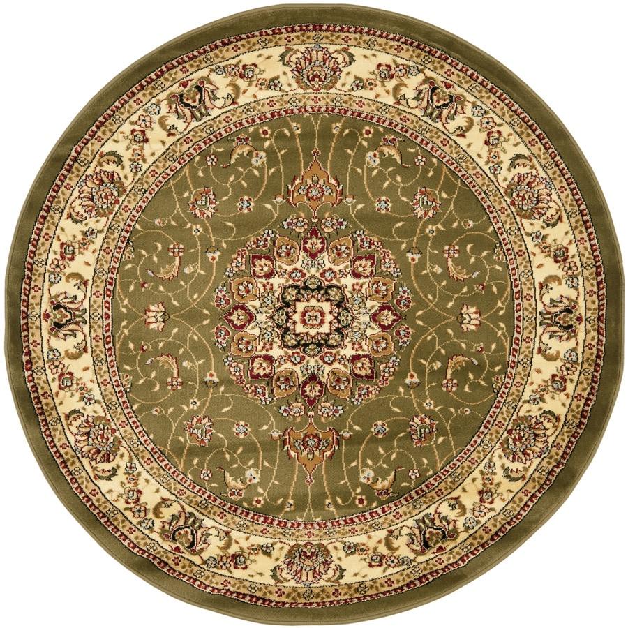 Safavieh Lyndhurst Kerman Sage/Ivory Round Indoor Oriental Area Rug (Common: 8 x 8; Actual: 8-ft W x 8-ft L x 8-ft dia)