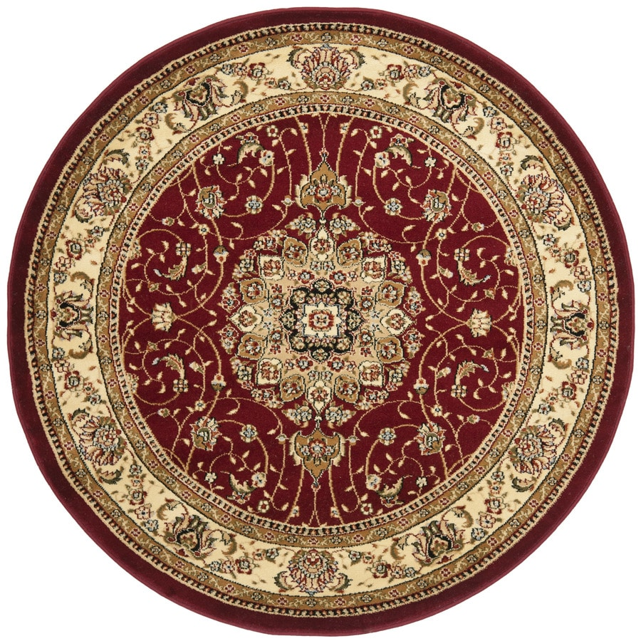 Safavieh Lyndhurst Kerman Red/Ivory Round Indoor Machine-made Oriental Area Rug (Common: 5 x 5; Actual: 5.25-ft W x 5.25-ft L x 5.25-ft Dia)