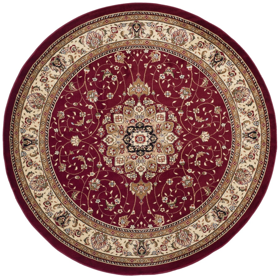 Safavieh Lyndhurst Red and Ivory Round Indoor Machine-Made Area Rug (Common: 8 x 8; Actual: 96-in W x 96-in L x 0.5-ft Dia)