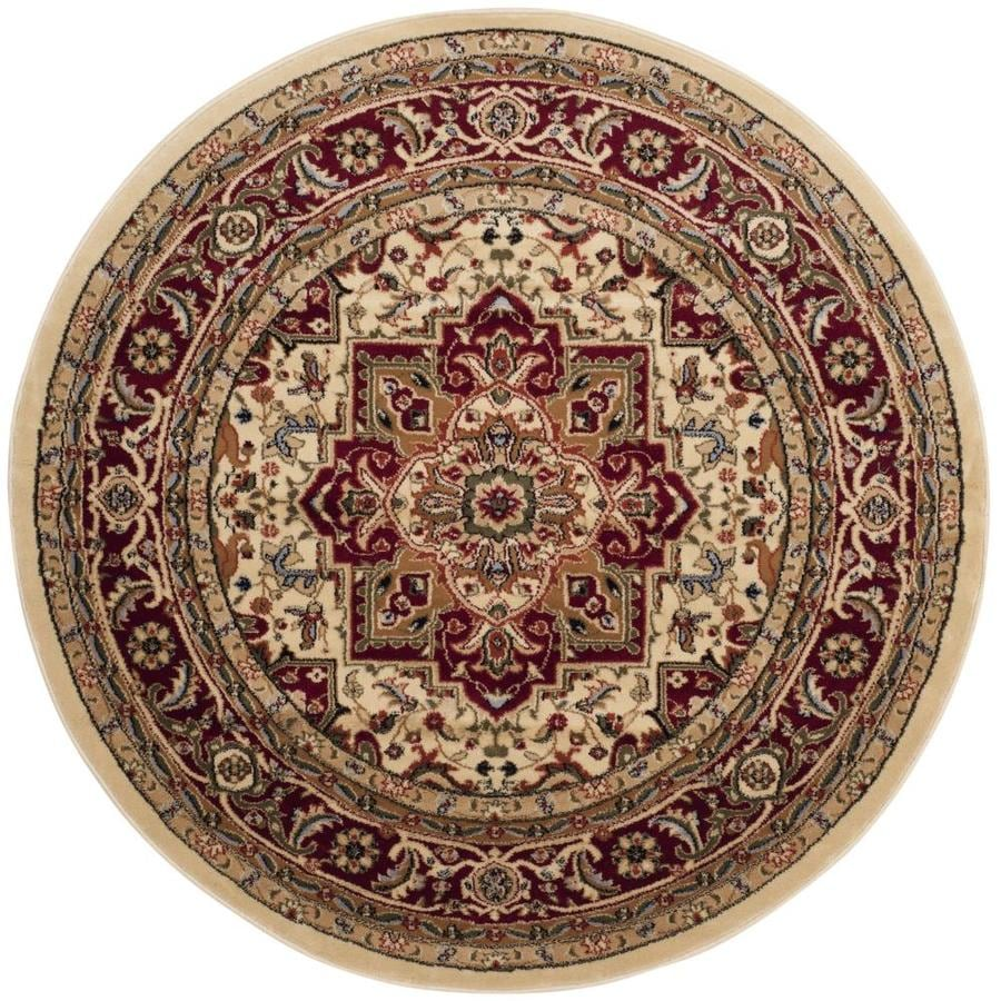 Safavieh Lyndhurst Heriz Ivory/Red Round Indoor Machine-made Oriental Area Rug (Common: 5 x 5; Actual: 5.25-ft W x 5.25-ft L x 5.25-ft dia)