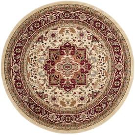 Safavieh Lyndhurst Heriz Ivory Red Round Indoor Oriental Area Rug Common 8 X