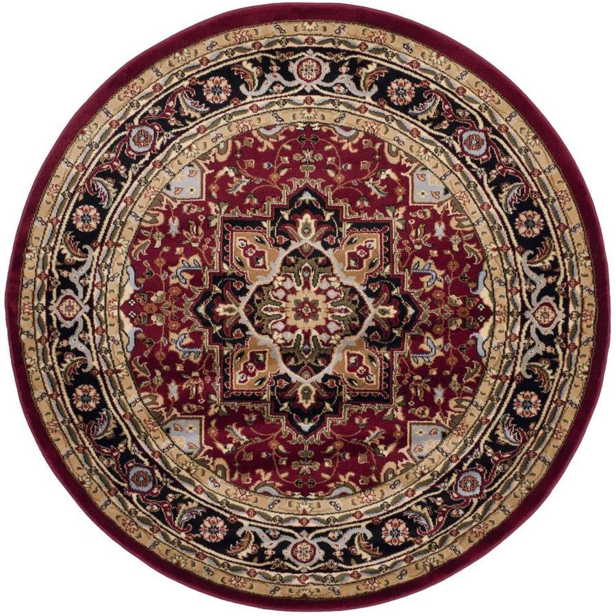 Safavieh Lyndhurst Heriz Red/Black Round Indoor Machine-made Oriental Area Rug (Common: 5 x 5; Actual: 5.25-ft W x 5.25-ft L x 5.25-ft Dia)