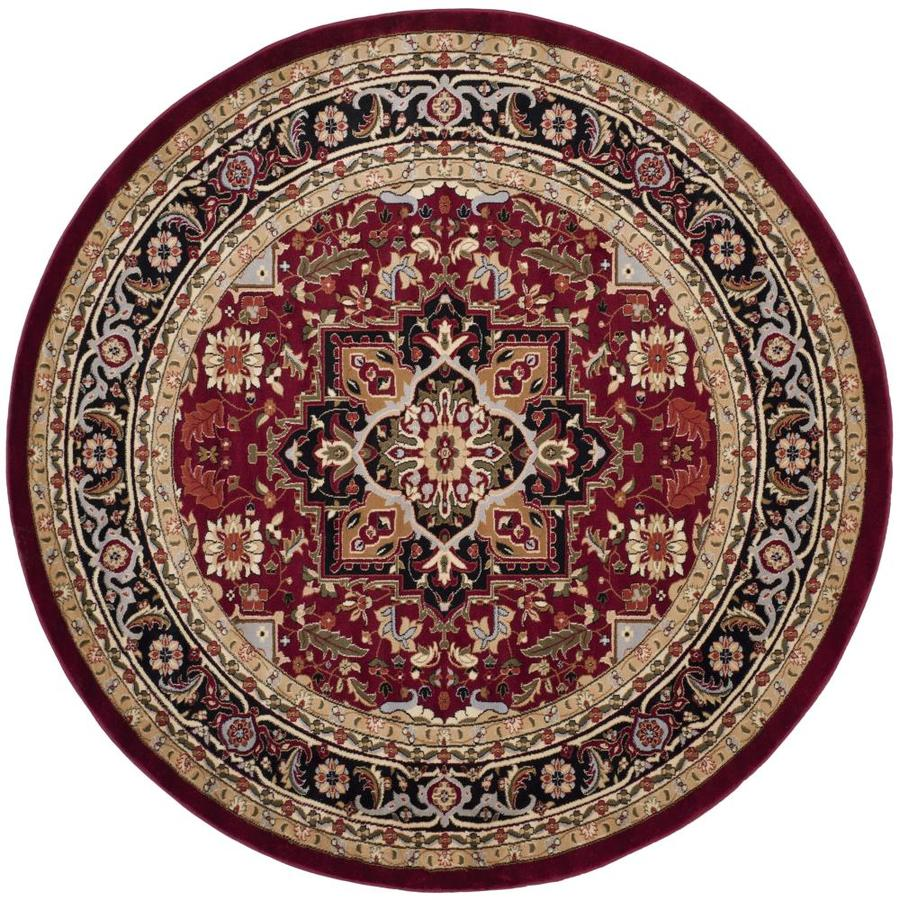 Safavieh Lyndhurst Heriz Red/Black Round Indoor Machine-made Oriental Area Rug (Common: 8 x 8; Actual: 8-ft W x 8-ft L x 8-ft Dia)