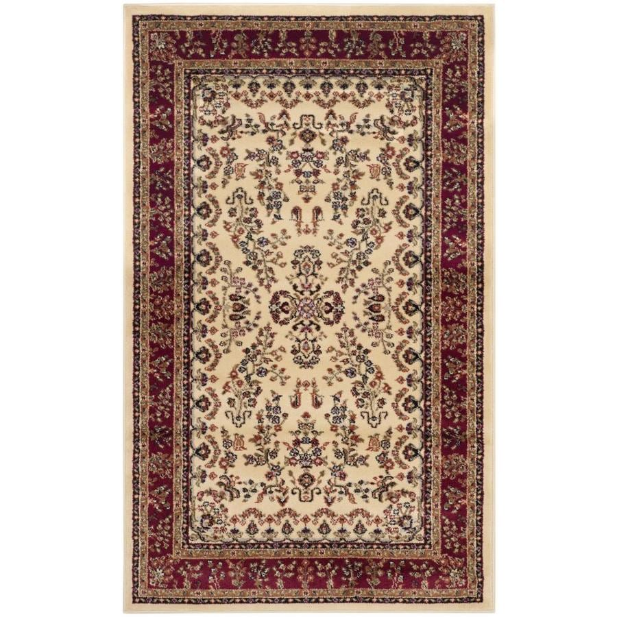 Safavieh Lyndhurst Hamadan Ivory/Red Indoor Oriental Throw Rug (Common: 3 x 5; Actual: 3.25-ft W x 5.25-ft L)