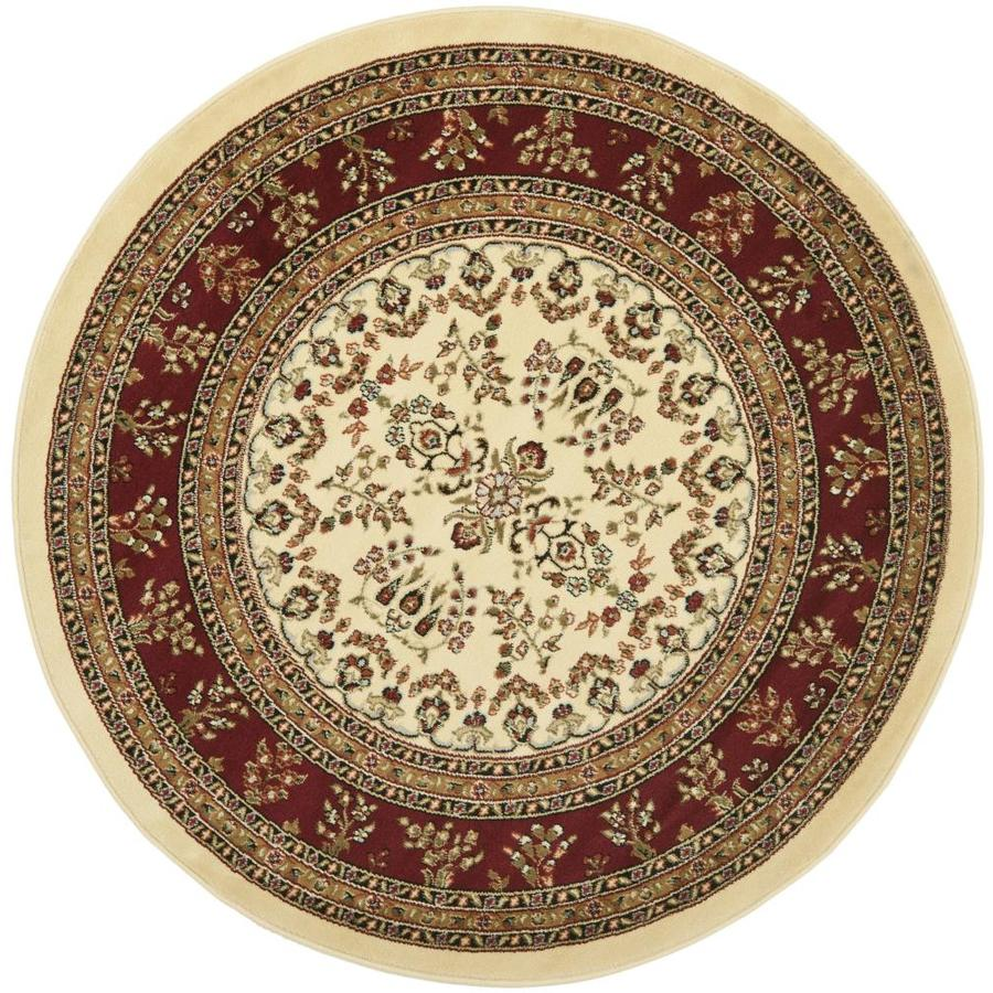 Safavieh Lyndhurst Hamadan Ivory/Red Round Indoor Machine-made Oriental Area Rug (Common: 5 x 5; Actual: 5.25-ft W x 5.25-ft L x 5.25-ft Dia)