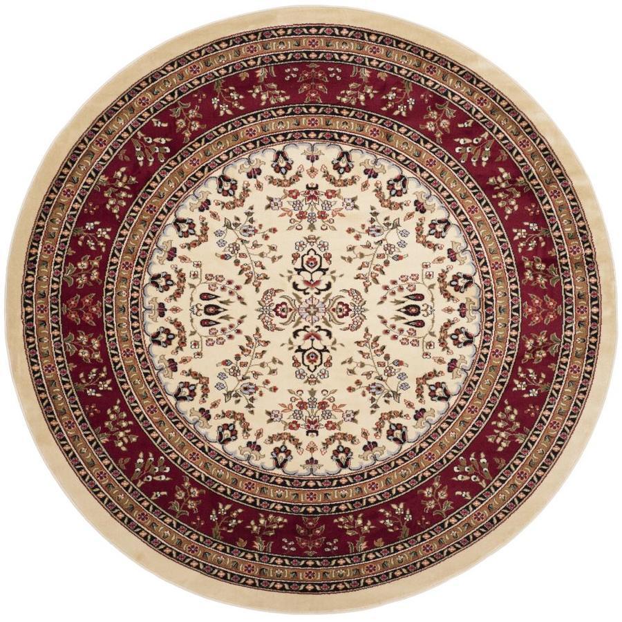 Safavieh Lyndhurst Hamadan Ivory/Red Round Indoor Oriental Area Rug (Common: 8 x 8; Actual: 8-ft W x 8-ft L x 8-ft dia)
