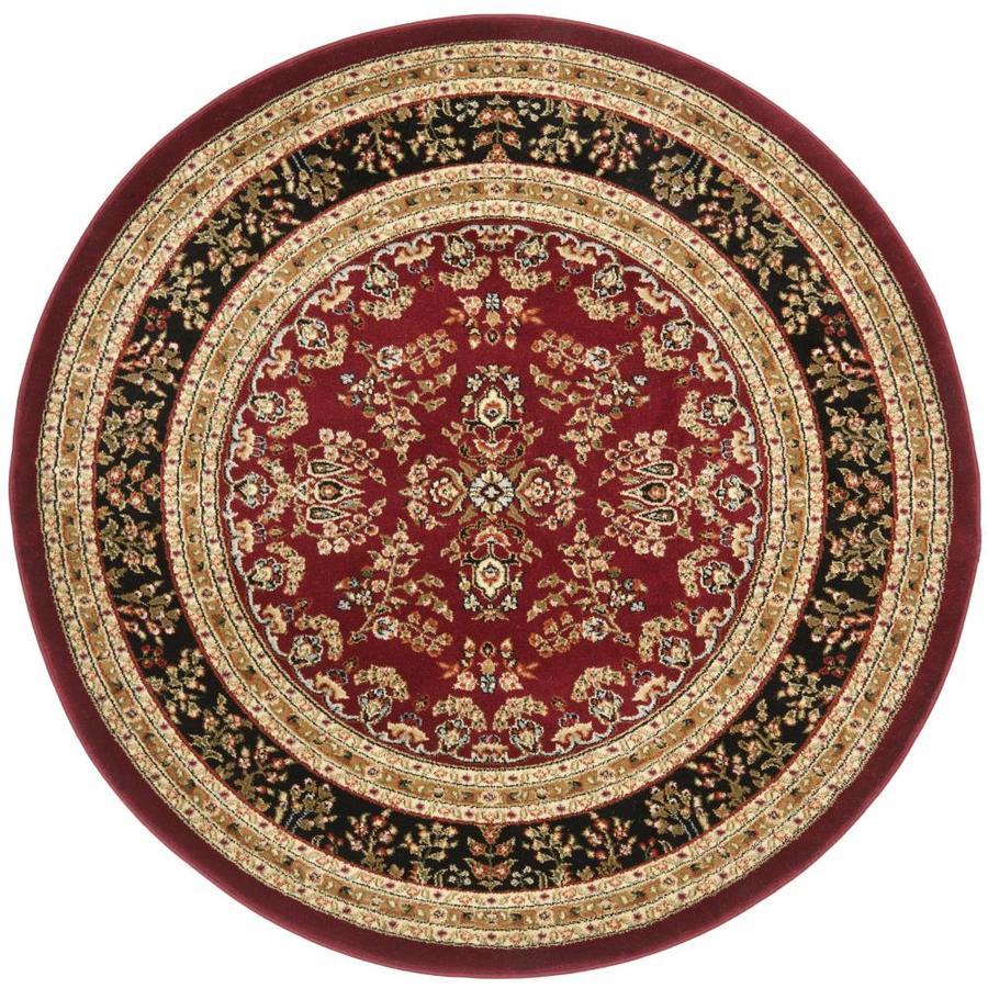 Safavieh Lyndhurst Hamadan Red/Black Round Indoor Machine-made Oriental Area Rug (Common: 5 x 5; Actual: 5.25-ft W x 5.25-ft L x 5.25-ft Dia)
