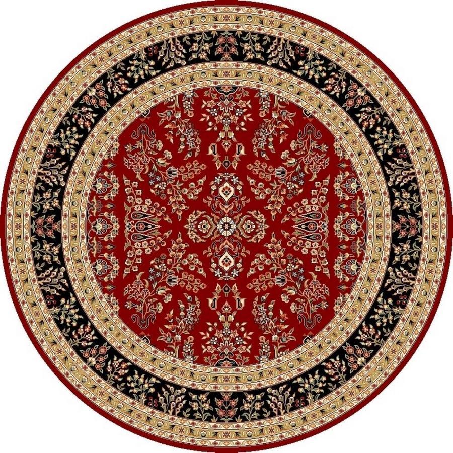 Safavieh Lyndhurst Hamadan Red/Black Round Indoor Machine-made Oriental Area Rug (Common: 8 x 8; Actual: 8-ft W x 8-ft L x 8-ft Dia)