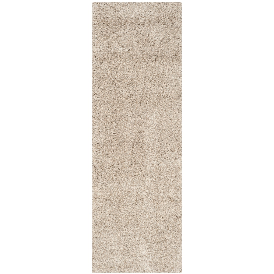 Safavieh California Shag Beige Rectangular Indoor Machine-Made Runner (Common: 2 x 12; Actual: 2.25-ft W x 13-ft L)