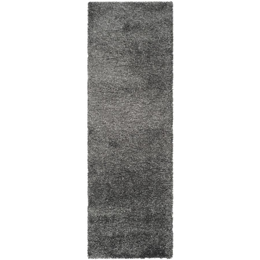 Safavieh California Shag Dark Gray Rectangular Indoor Machine-Made Runner (Common: 2 x 15; Actual: 2.25-ft W x 15-ft L)