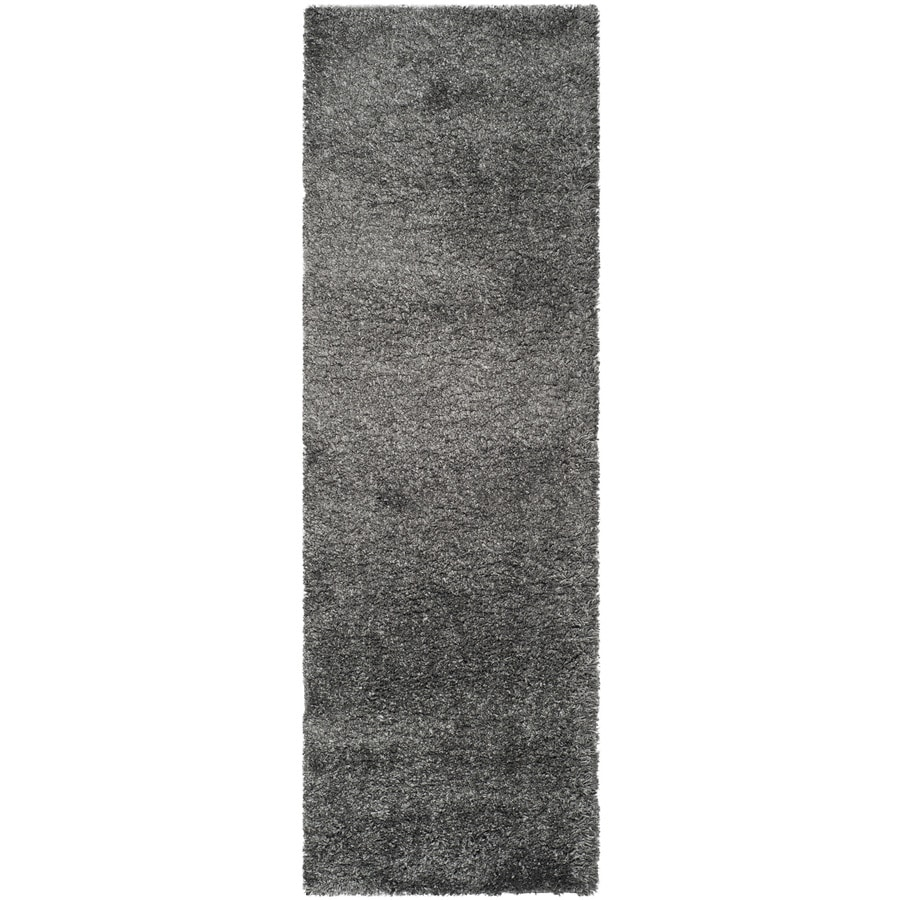 Safavieh California Shag Dark Gray Rectangular Indoor Machine-Made Runner (Common: 2 x 20; Actual: 2.25-ft W x 21-ft L)
