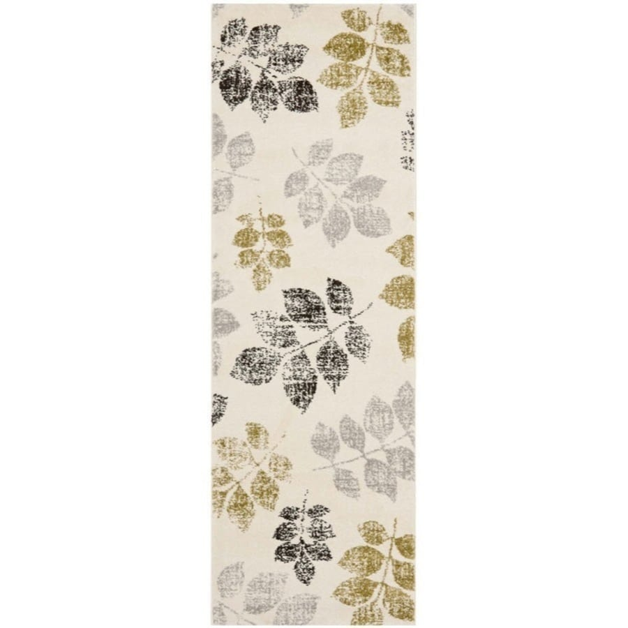 Safavieh Porcello Agoro Ivory/Green Rectangular Indoor Machine-made Nature Runner (Common: 2 x 7; Actual: 0.58-ft W x 2.33-ft L x 0.58-ft dia)