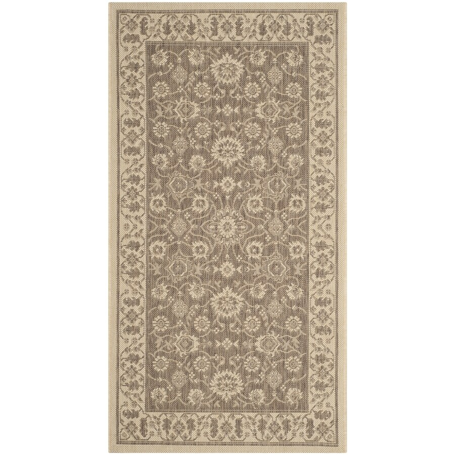 Safavieh Courtyard Brown and Creme Rectangular Indoor and Outdoor Machine-Made Throw Rug (Common: 3 x 5; Actual: 31-in W x 60-in L x 0.33-ft Dia)