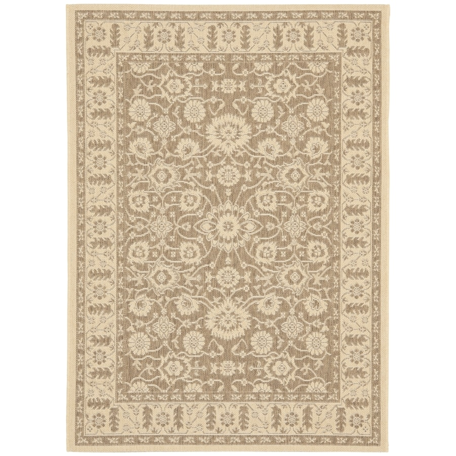 Safavieh Courtyard Brown/Creme Rectangular Indoor/Outdoor Machine-Made Coastal Area Rug (Common: 4 x 6; Actual: 4-ft W x 5.58333333333333-ft L x 0-ft Dia)