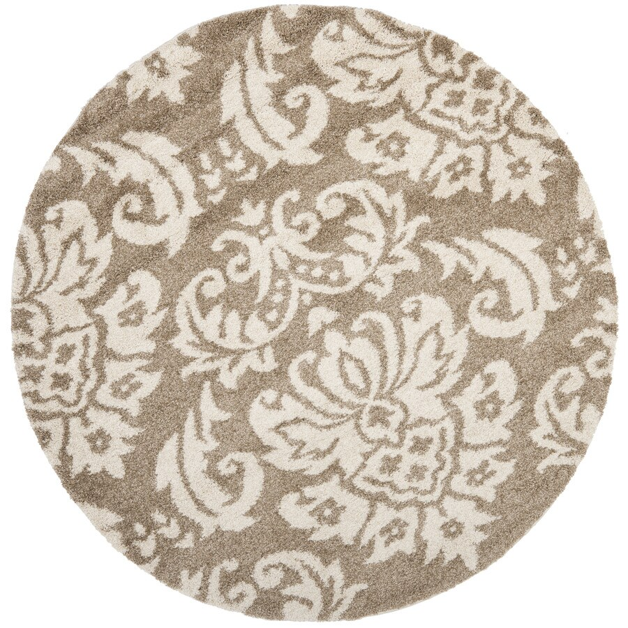 Safavieh Balin Shag Beige/Cream Round Indoor Machine-made Tropical Area Rug (Common: 4 x 4; Actual: 4-ft W x 4-ft L x 4-ft Dia)