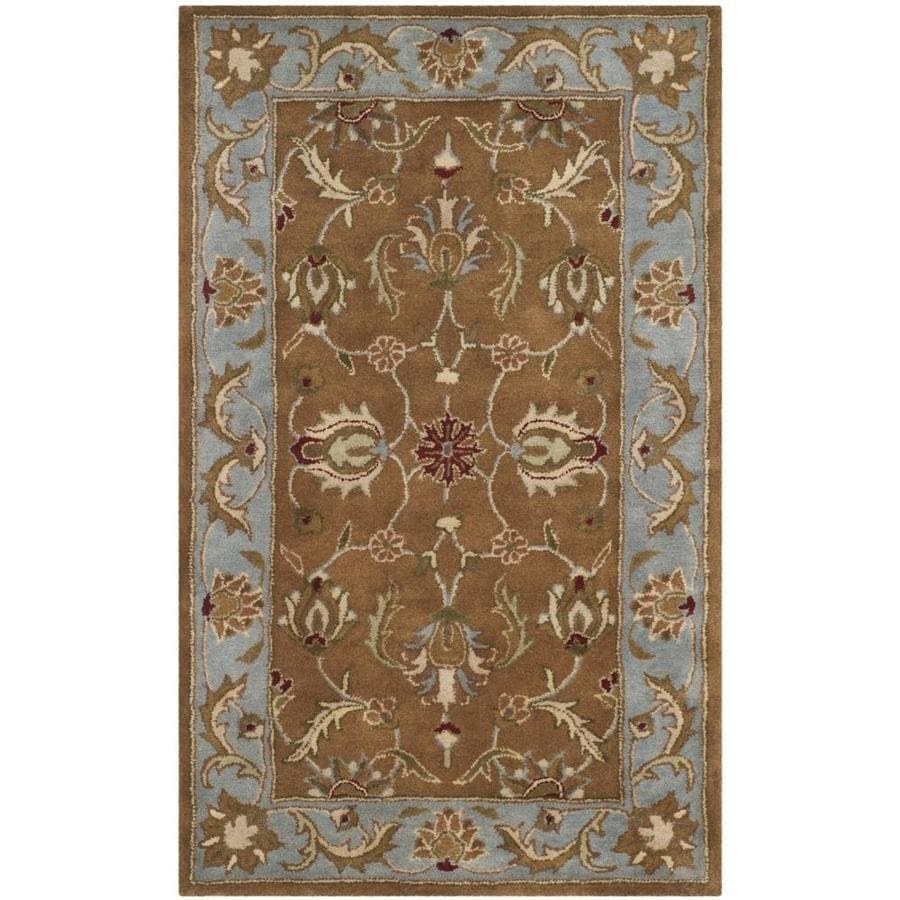 Safavieh Heritage Ganges Brown/Blue Indoor Handcrafted Oriental Throw Rug (Common: 3 x 5; Actual: 3-ft W x 5-ft L)