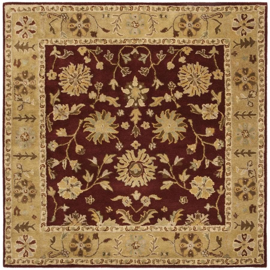 Safavieh Heritage Kochi 8 X 8 Red Gold Square Indoor Floral Botanical Oriental Handcrafted Area Rug In The Rugs Department At Lowes Com
