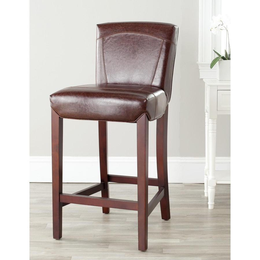 Shop Safavieh Ken Bar Stool Modern Brown Leather Bar Stool At
