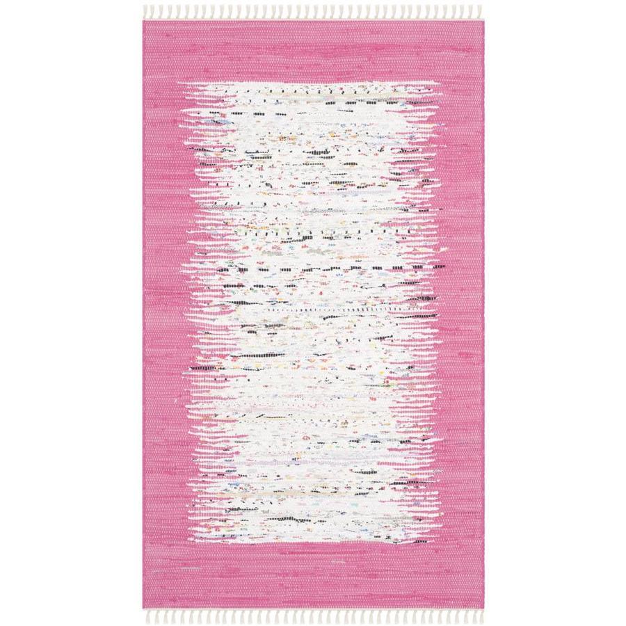 Safavieh Montauk Keeling Ivory/Pink Rectangular Indoor Handcrafted Coastal Throw Rug (Common: 3 x 5; Actual: 3-ft W x 5-ft L)