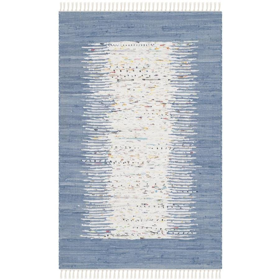 Safavieh Montauk Keeling Ivory/Dark Blue Rectangular Indoor Handcrafted Coastal Throw Rug (Common: 3 x 4; Actual: 2.5-ft W x 4-ft L)