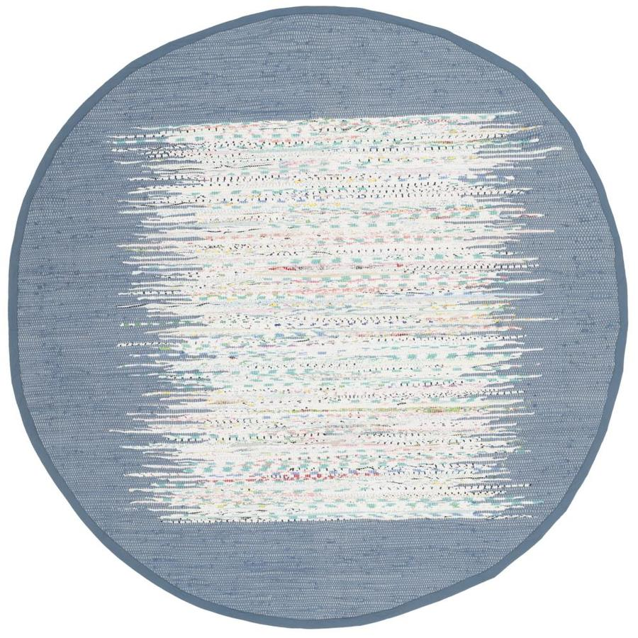 Safavieh Montauk Keeling Ivory/Dark Blue Round Indoor Handcrafted Coastal Area Rug (Common: 6 x 6; Actual: 6-ft W x 6-ft L x 6-ft dia)