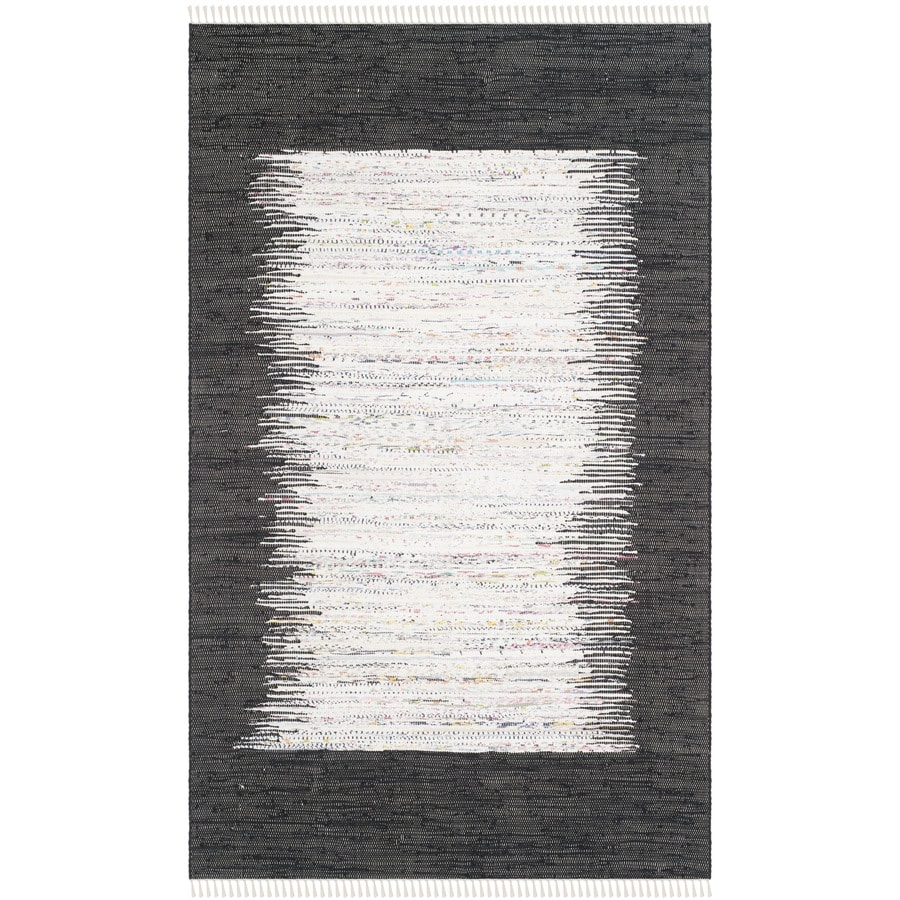 Safavieh Montauk Keeling Ivory/Black Rectangular Indoor Handcrafted Coastal Area Rug (Common: 5 x 8; Actual: 5-ft W x 8-ft L)