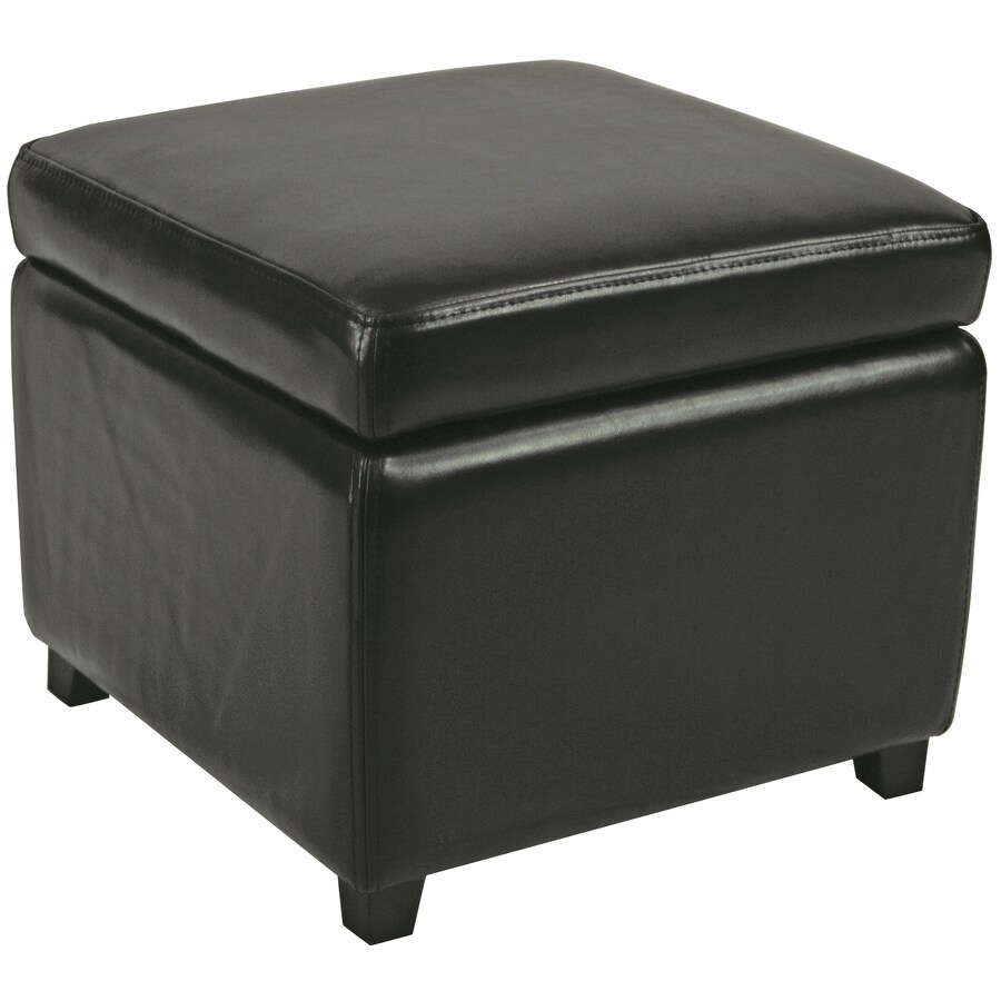 Shop Safavieh Jonathan Casual Black Faux Leather Storage Ottoman at
